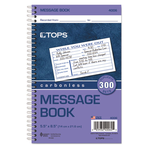 Spiralbound Message Book, 2 5/6 x 5, Carbonless Duplicate, 300 Sets/Book. Picture 2