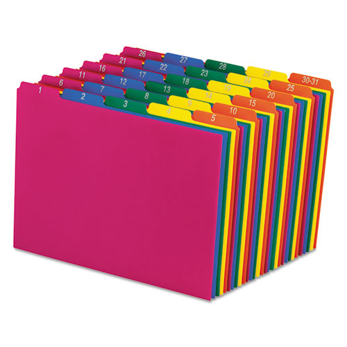 Poly Top Tab File Guides, 1/5-Cut Top Tab, 1 to 30-31, 8.5 x 11, Assorted Colors, 31/Set. Picture 1