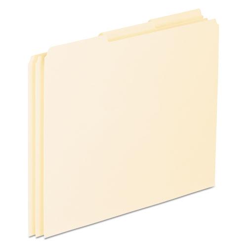 Blank Top Tab File Guides, 1/3-Cut Top Tab, Blank, 8.5 x 11, Manila, 100/Box. Picture 1