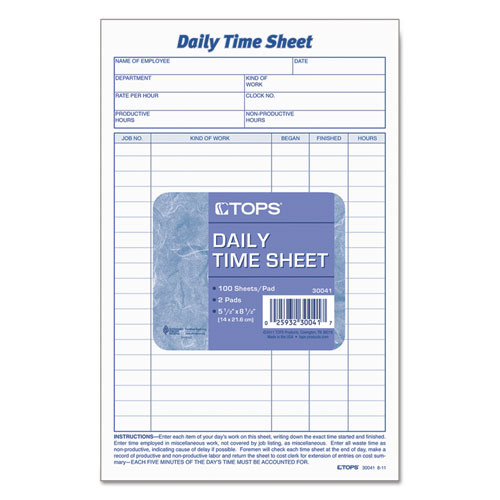 Daily Time and Job Sheets, 8 1/2 x 5 1/2, 200/Pad, 2/Pack. Picture 2