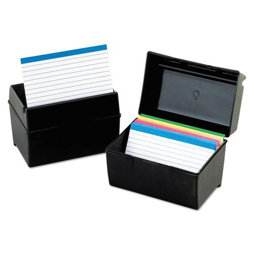 Plastic Index Card File, Holds 300 3 x 5 Cards, 5.63 x 3.63 x 3.63, Black. Picture 1
