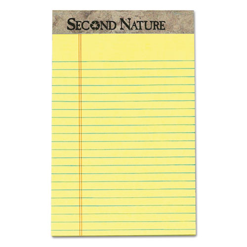 Second Nature Recycled Ruled Pads, Narrow Rule, 5 x 8, Canary, 50 Sheets, Dozen. Picture 1