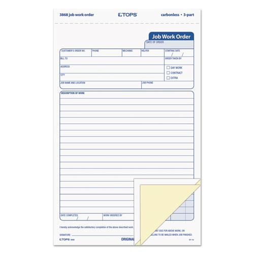 """Snap-Off Job Work Order Form, 5 2/3"""" x 8 5/8"""", Three-Part Carbonless, 50 Forms. Picture 1"""