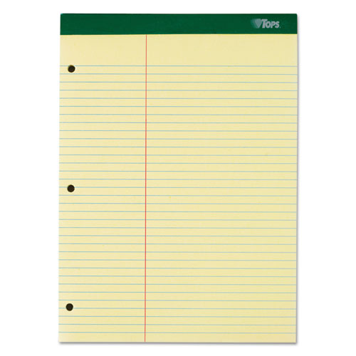 Double Docket Ruled Pads, Pitman Rule, 8.5 x 11.75, Canary, 100 Sheets. Picture 1