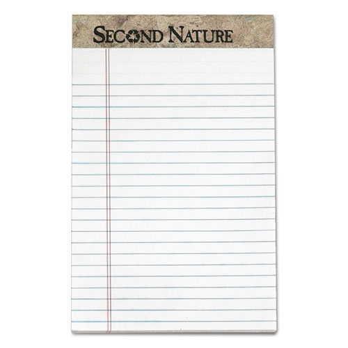 Second Nature Recycled Ruled Pads, Narrow Rule, 5 x 8, White, 50 Sheets, Dozen. Picture 1