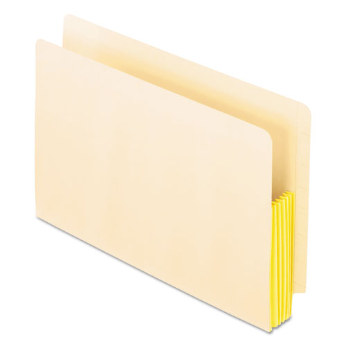 """Manila Drop Front Shelf File Pockets, 5.25"""" Expansion, 10 Sections, Legal Size, Manila, 10/Box. Picture 1"""