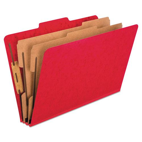 Six-Section Colored Classification Folders, 2 Dividers, Legal Size, Scarlet, 10/Box. Picture 1