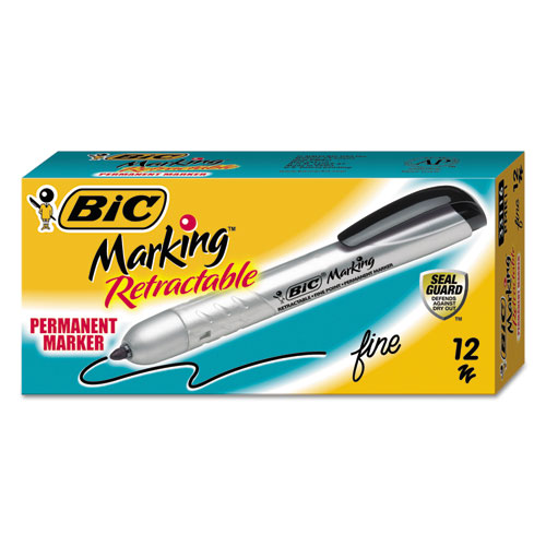 Intensity Retractable Permanent Marker, Fine Bullet Tip, Black, Dozen. Picture 2