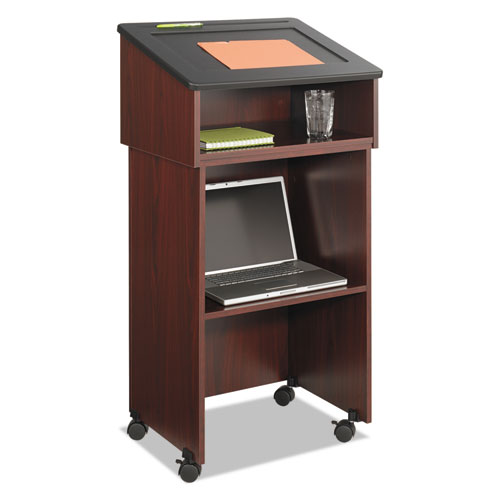 Tabletop Lectern, 24w x 20d x 13.5h, Mahogany/Black. Picture 3