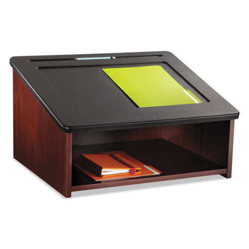 Tabletop Lectern, 24w x 20d x 13.5h, Mahogany/Black. Picture 1