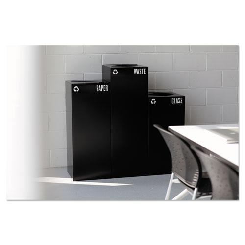 Public Square Paper-Recycling Container, Square, Steel, 42 gal, Black. Picture 1