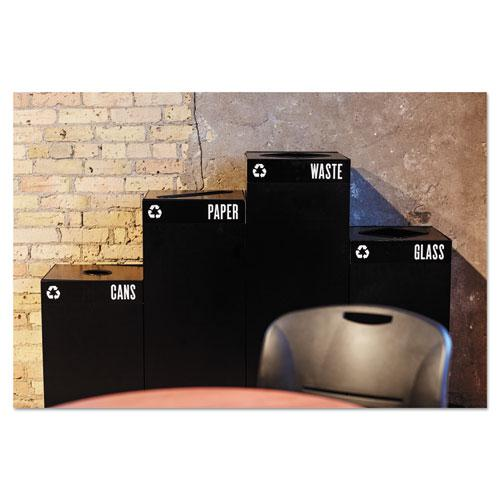 Public Square Paper-Recycling Container, Square, Steel, 42 gal, Black. Picture 3