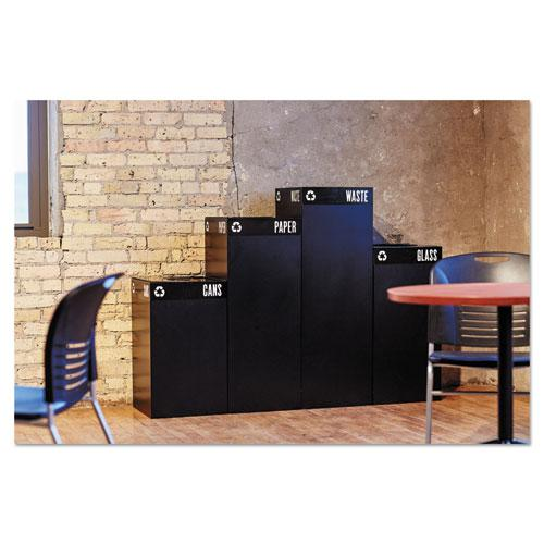 Public Square Paper-Recycling Container, Square, Steel, 42 gal, Black. Picture 4