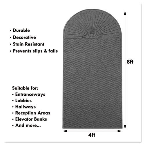 EcoGuard Diamond Floor Mat, Double Fan, 36 x 96, Charcoal. Picture 11