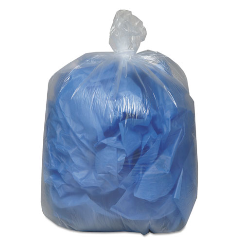 """Linear Low Density Clear Recycled Can Liners, 60 gal, 1.5 mil, 38"""" x 58"""", Clear, 100/Carton. Picture 2"""