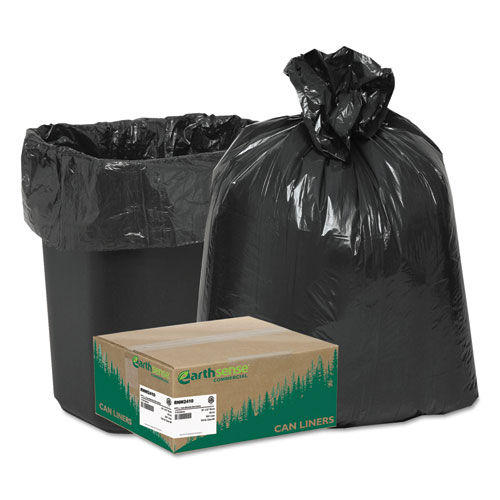 """Linear Low Density Recycled Can Liners, 10 gal, 0.85 mil, 24"""" x 23"""", Black, 500/Carton. Picture 1"""