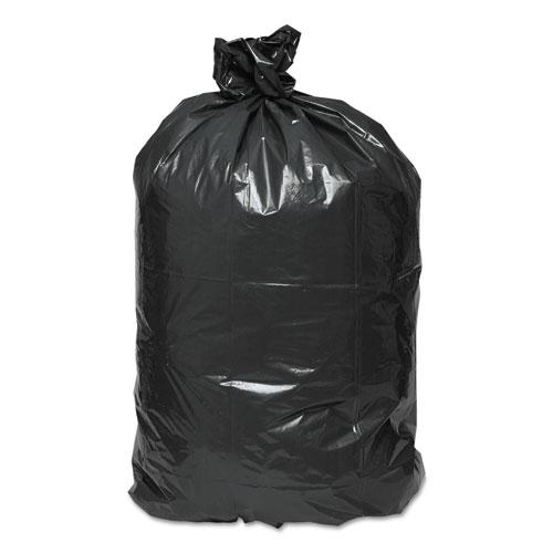 """Linear Low Density Recycled Can Liners, 60 gal, 1.25 mil, 38"""" x 58"""", Black, 100/Carton. Picture 2"""