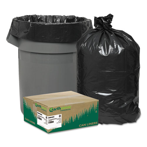 """Linear Low Density Recycled Can Liners, 45 gal, 1.65 mil, 40"""" x 46"""", Black, 100/Carton. Picture 1"""