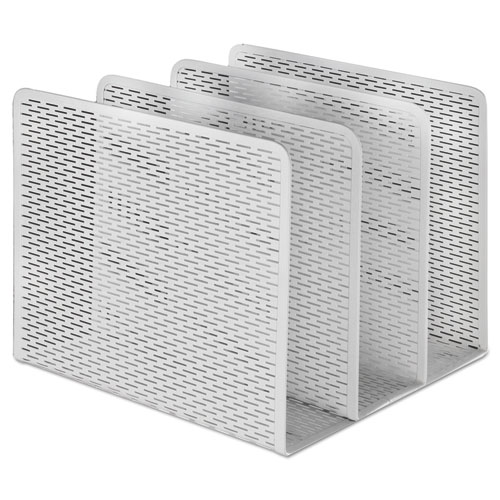 """Urban Collection Punched Metal File Sorter, 3 Sections, Letter Size Files, 8"""" x 8"""" x 7.25"""", White. Picture 1"""