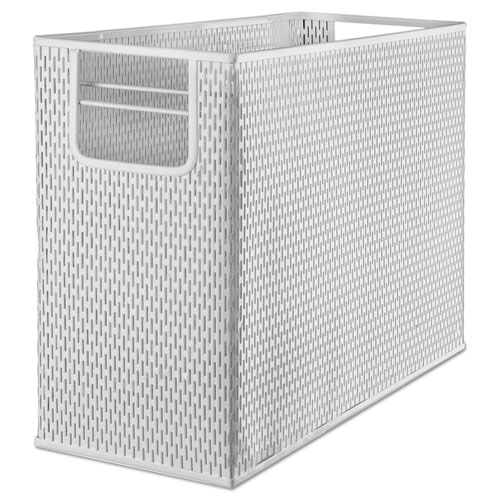 """Urban Collection Punched Metal Desktop File, 1 Section, Letter to Legal Size Files, 13"""" x 5.75"""" x 10.75"""", White. Picture 1"""
