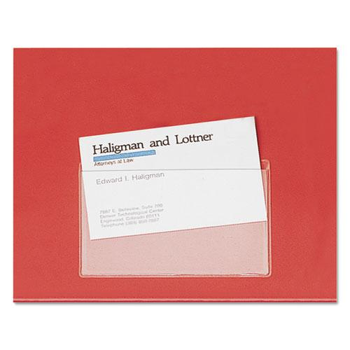 HOLD IT Poly Business Card Pocket, Top Load, 3 3/4 x 2 3/8, Clear, 10/Pack. Picture 1