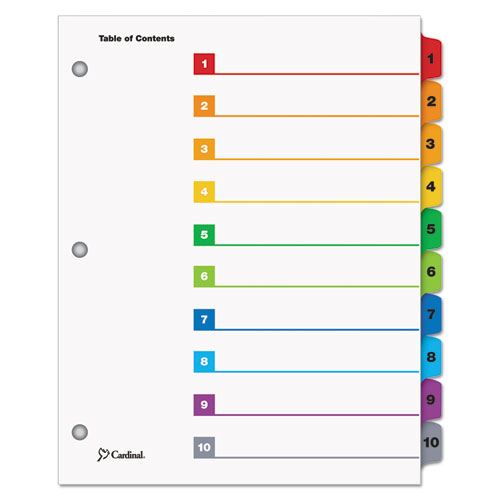 QuickStep OneStep Printable Table of Contents and Dividers, 10-Tab, 1 to 10, 11 x 8.5, White, 24 Sets. Picture 1