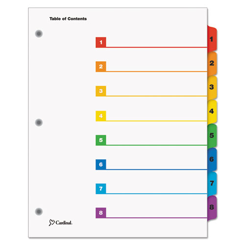QuickStep OneStep Printable Table of Contents and Dividers, 8-Tab, 1 to 8, 11 x 8.5, White, 24 Sets. Picture 1