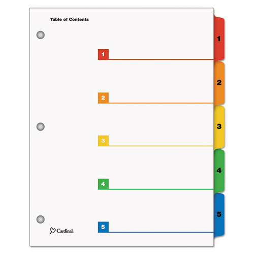 QuickStep OneStep Printable Table of Contents and Dividers, 5-Tab, 1 to 5, 11 x 8.5, White, 24 Sets. Picture 1