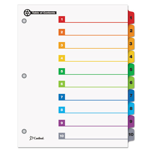 OneStep 100% Recycled Printable Table of Contents Dividers, 10-Tab, 1 to 10, 11 x 8.5, White, 1 Set. Picture 1