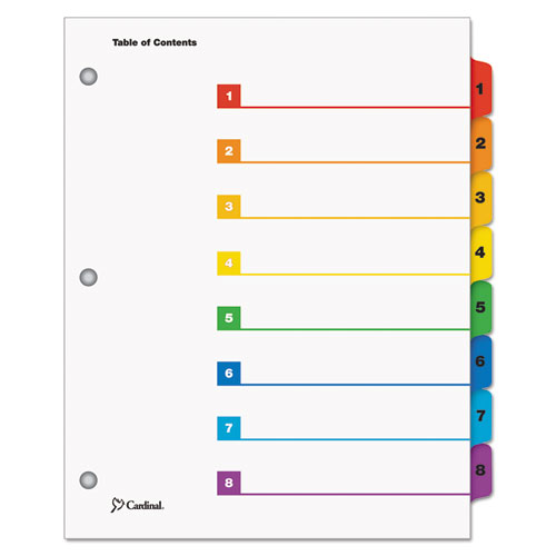 OneStep Printable Table of Contents and Dividers, 8-Tab, 1 to 8, 11 x 8.5, White, 1 Set. Picture 1
