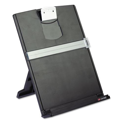Fold-Flat Freestanding Desktop Copyholder, Plastic, 150 Sheet Capacity, Black. Picture 1