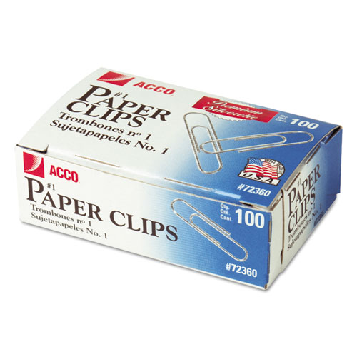 Paper Clips, Medium (No. 1), Silver, 100/Box, 10 Boxes/Pack. Picture 1