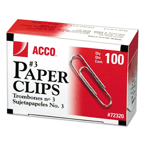 Paper Clips, Small (No. 3), Silver, 1,000/Pack. Picture 1