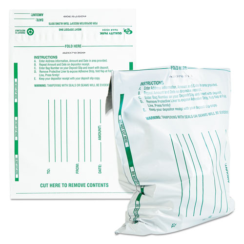 Poly Night Deposit Bags w/Tear-Off Receipt, 10 x 13, Opaque, 100 Bags/Pack. Picture 1