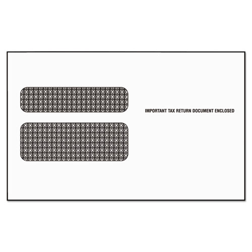 W-2 Laser Double Window Envelope, Commercial Flap, Self-Adhesive Closure, 5.63 x 9, White, 50/Pack. Picture 1