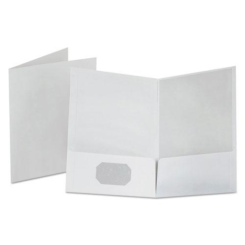 Linen Finish Twin Pocket Folders, Letter, White, 25/Box. Picture 1