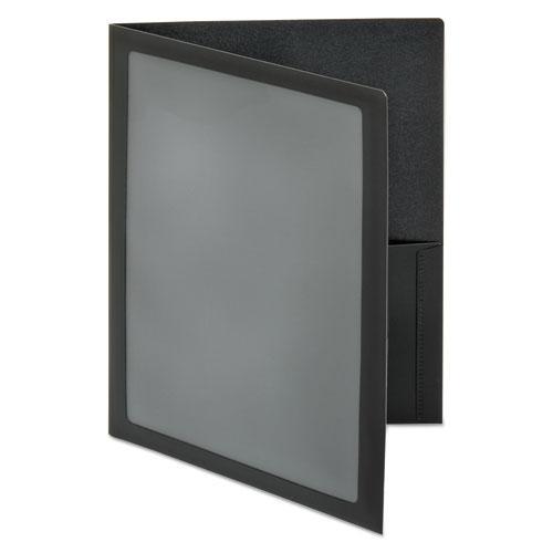 ViewFolio Polypropylene Portfolio, 100-Sheet Capacity, Black/Clear. Picture 2