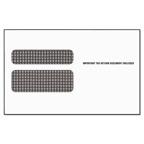 W-2 Laser Double Window Envelope, Commercial Flap, Gummed Closure, 5.63 x 9, White, 50/Pack. Picture 1