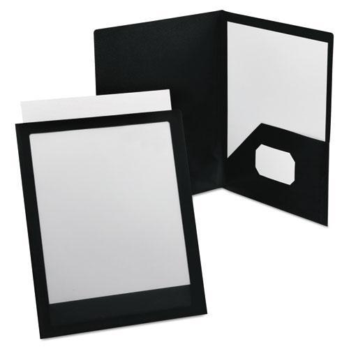 ViewFolio Polypropylene Portfolio, 100-Sheet Capacity, Black/Clear. Picture 1