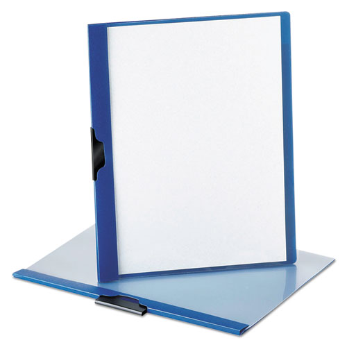 No-Punch Report Cover, Letter, Clip Holds 30 Pages, Clear/Blue. Picture 1