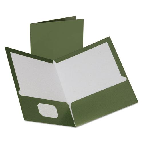 Two-Pocket Laminated Folder, 100-Sheet Capacity, Metallic Green, 25/Box. Picture 1