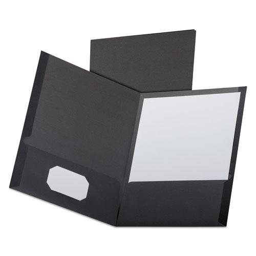Linen Finish Twin Pocket Folders, Letter, Black,25/Box. Picture 1
