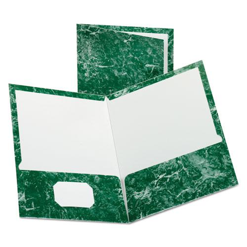 Marble Design Laminated High Gloss Twin Pocket Folder, Emerald Green, 25/box. Picture 1
