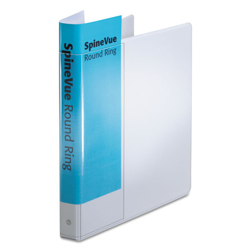 "Spine Vue Locking Round Ring Binder, 3 Rings, 1"" Capacity, 11 x 8.5, White. The main picture."