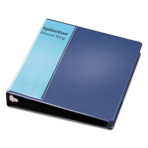 "Spine Vue Locking Round Ring Binder, 3 Rings, 1.5"" Capacity, 11 x 8.5, Navy. Picture 4"