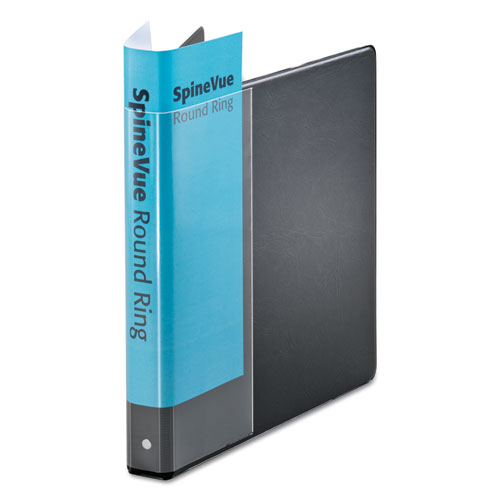 "Spine Vue Locking Round Ring Binder, 3 Rings, 1"" Capacity, 11 x 8.5, Black. The main picture."