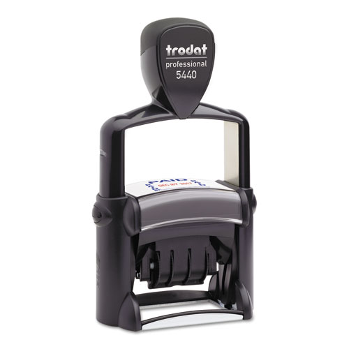 Trodat Professional 5-in-1 Date Stamp, Self-Inking, 1.13 x 2, Blue/Red. Picture 1