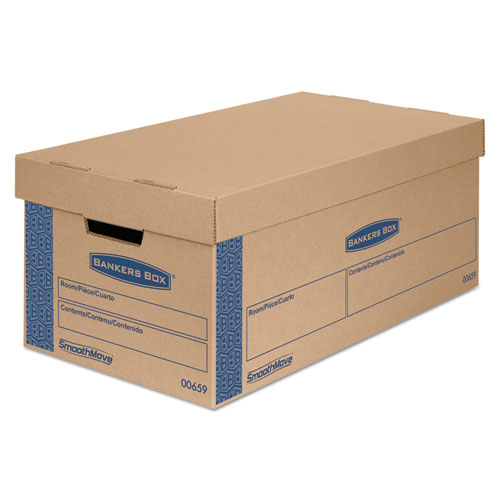 """SmoothMove Prime Moving & Storage Boxes, Small, Half Slotted Container (HSC), 24"""" x 12"""" x 10"""", Brown Kraft/Blue, 8/Carton. Picture 1"""