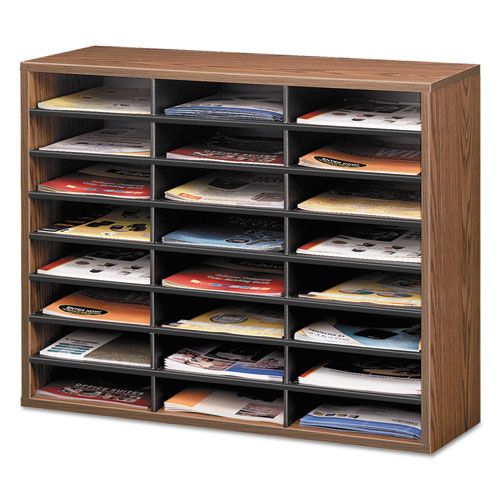 Literature Organizer, 24 Letter Sections, 29 x 11 7/8 x 23 7/16, Medium Oak. Picture 2