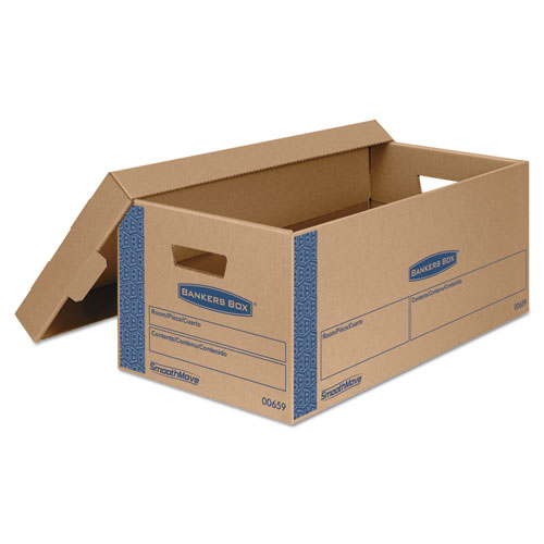 """SmoothMove Prime Moving & Storage Boxes, Small, Half Slotted Container (HSC), 24"""" x 12"""" x 10"""", Brown Kraft/Blue, 8/Carton. Picture 2"""
